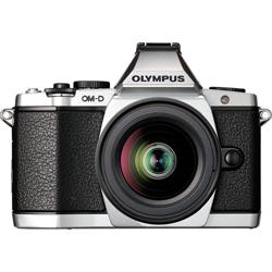 Olympus-E-M5 OM-D System Camera with M.Zuiko Digital ED 12-50mm EZ Lens - Silver-Digital Cameras