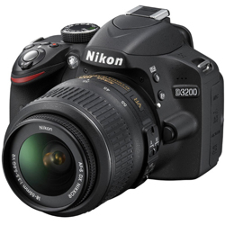 Nikon-D3200 DSLR with 18-55mm VR Lens - Black-Digital Cameras
