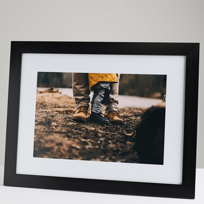 400x300mm Print in a 30mm Black Frame with a 200x300mm image  (50mm white space on all sides)