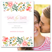Floral - 2 Sided Save the Date  5x7