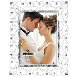 Malden-5x7 Enchanted Hearts Silver with Jewels-Photo Frames