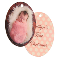 Oval Gloss White Ornament Double Sided