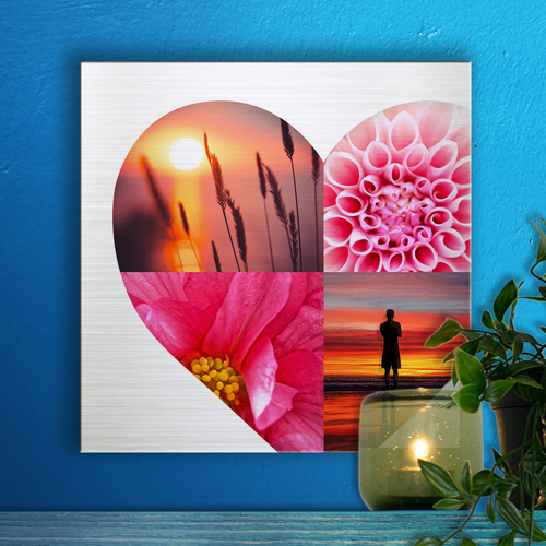 12 x 12 Heart Collage Metal Print - 4 photos