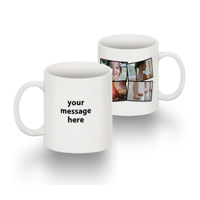 Tasse Standard 11 0z collage de 4 photos texte main gauche