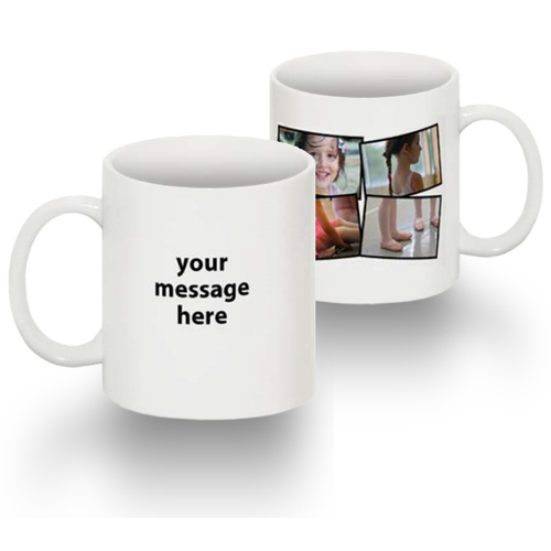 Tasse Standard 15 0z collage de 4 photos texte main gauche