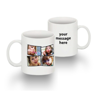 Tasse Standard 11 0z collage de 4 photos texte main droite