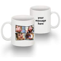 Tasse Standard 15 0z collage de 4 photos texte main droite