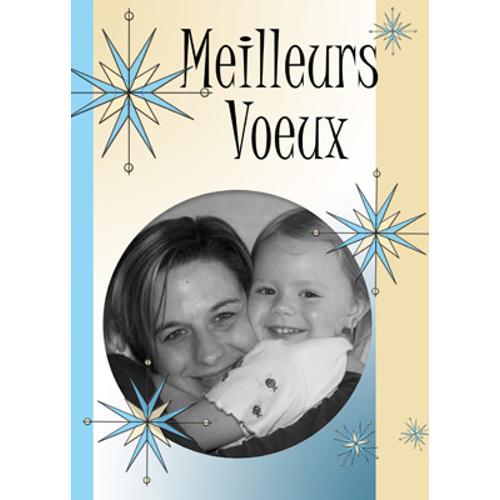 5 x 7 Carte Photo - 1 côté - Meilleurs Voeux Étoiles (Français)