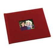 8.5 x 11 Red Linen Photo Book with Window  -- Single-sided