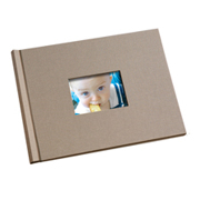 8.5 x 11  Taupe Linen Photo Book with Window