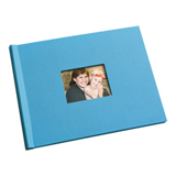 8.5 x 11 (HP) Pool Blue Linen Photo Book with Window