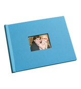 8.5 x 11 Pool Blue Linen Photo Book with Window