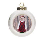 White Round Ornament - Season's Greetings