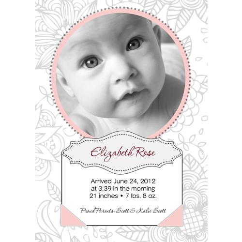 'Elizabeth' Style Birth Announcement - Single Card
