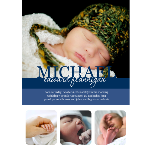 'Michael' Single Birth Announcement or Adoption Card