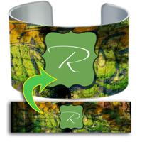 Cuff Bracelet - 1-Frame Center Bracket Graffiti Initial