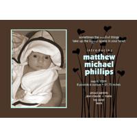 Heart Flowers Birth Announcement - Blue Single Card