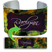 Cuff Bracelet - 1-Frame Center Bracket Graffiti Name