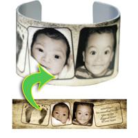 Cuff Bracelet - 2-Frame Footprint Grunge Baby Announcement
