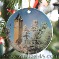 Winter Campanile 3'' Circle Porcelain Ornament