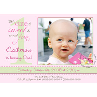 First Birthday Girl - 5x7 - Design 1 Single Card