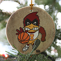 Two-Sided Basketball Cy/Football Cy 3'' Circle Porcelain Ornament