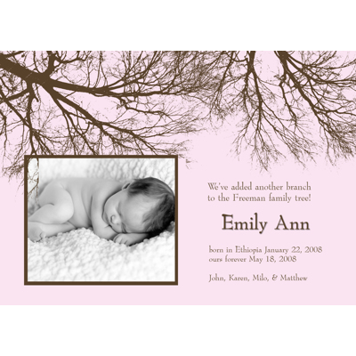 Family Tree Pink & Brown Single Card