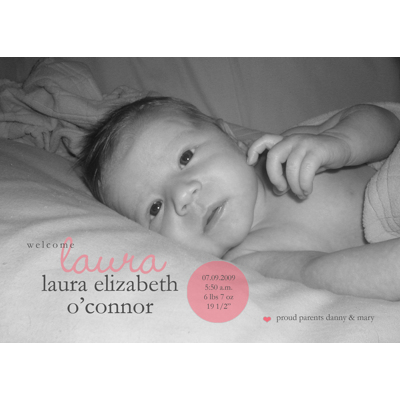 Pink Dot Birth Announcement Single Card
