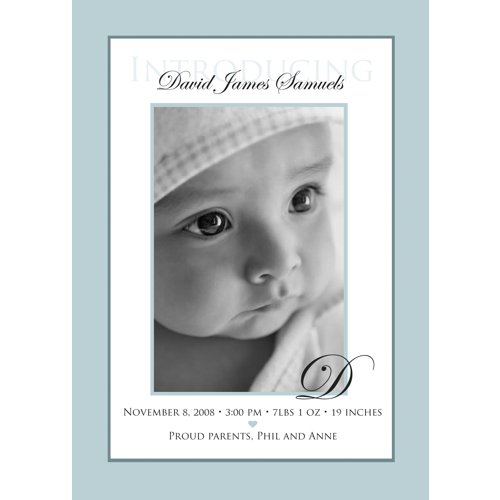 Classic Blue Birth Announcement Single Card