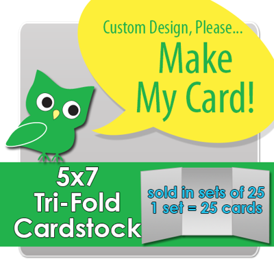 Custom 5x7 Vertical Tri-Fold Press Printed Cardstock - set of 25