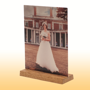 5x10 Wooden Base White Matte Metal Print