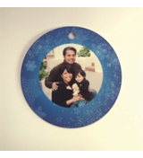 Circle Gloss White Ornament Double Sided