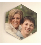 Hexagon Gloss White Ornament Double Sided