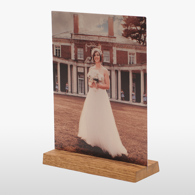 5x7 Wooden Base Gloss White Metal Print