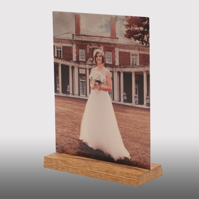 5x5 Wooden Base Clear Gloss Metal Print