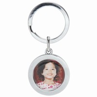 Silver Round Photo Keychain