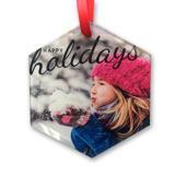 Glass Hexagon Ornament Happy Holidays