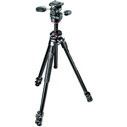 Manfrotto-290 DUAL Kit - 3 Section Aluminum Tripod with 90° Column and 3W Head #MK290DUA3-3W-Tripods & Monopods