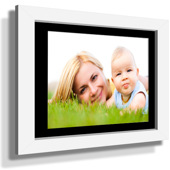 "11x13"" Custom Framed Print - 5x7"" Print in White Frame w Black Matting"