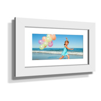 "16x28"" Custom Framed Print - 7x19"" Print in White Frame w White Matting"