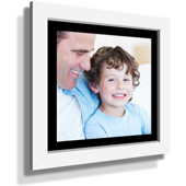 "13x13"" Custom Framed Print - 7x7"" Print in White Frame w Black Matting"