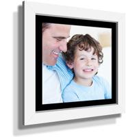 "13x13"" Custom Framed Print - 7x7"" Print in White Frame w Black Matting"