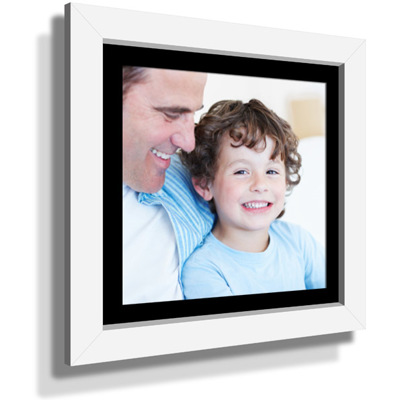 "15x15"" Custom Framed Print - 9x9"" Print in White Frame w Black Matting"