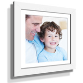 "13x13"" Custom Framed Print - 7x7"" Print in White Frame w White Matting"