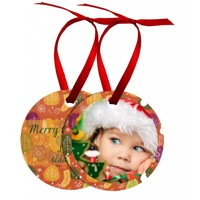 Circle Metal Ornament w/2 photos