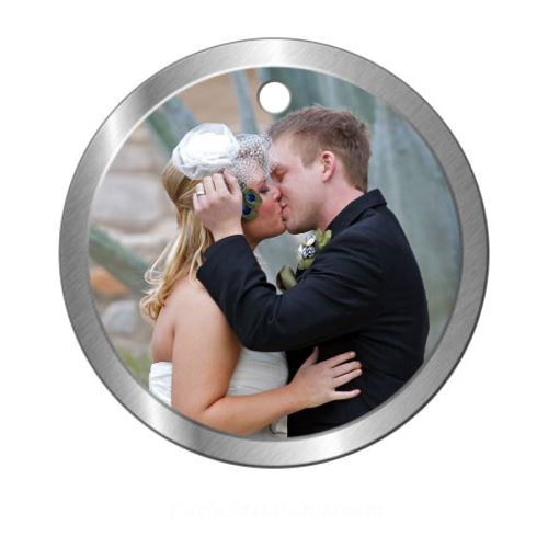 Circle Metal ornament with one image