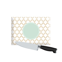 Small Personalized Cutting Board - Quatrefoil Mint & Tan