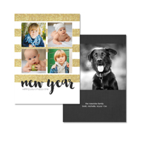 Shimmery Stripes: 10pk New Year Card