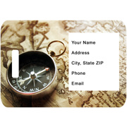 Luggage Tag - Compass and  Map