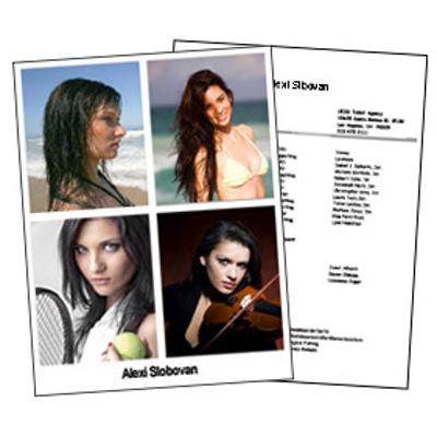 Headshot 8½x11 Double Sided 4 Photos plus resume
